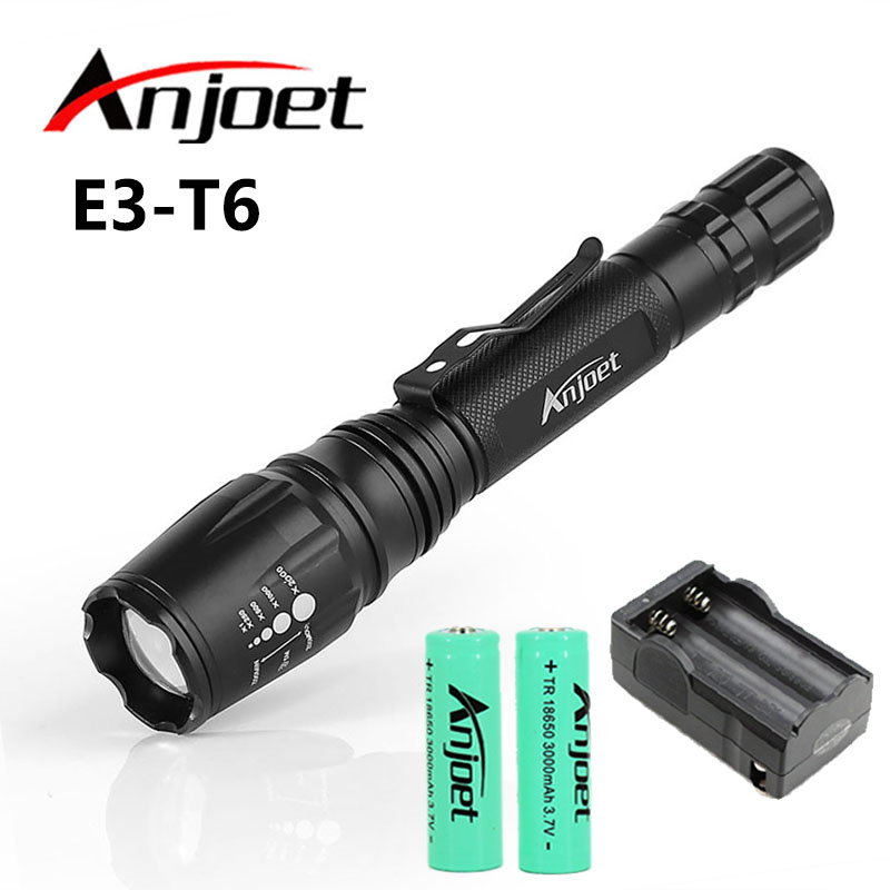 Anjoet Tactical ficklampa 2000LM XM-L T6 LED Zoombar Focus Facklampa - Bärbar belysning