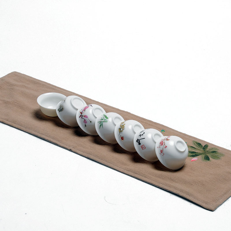 New,7 pcs Chinese Kungfu white porcelain single cups,tea ceremony,tea accessories/tools, ...