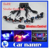 16W Wireless Control Super power Strobe flash led warning light Emergency Vehicle Blue Strobe Police Fireman Caution pilot Lamp