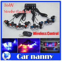 16W Wireless Control Super power Strobe flash led warning light Emergency Vehicle Blue Strobe Police Fireman Caution pilot Lamp