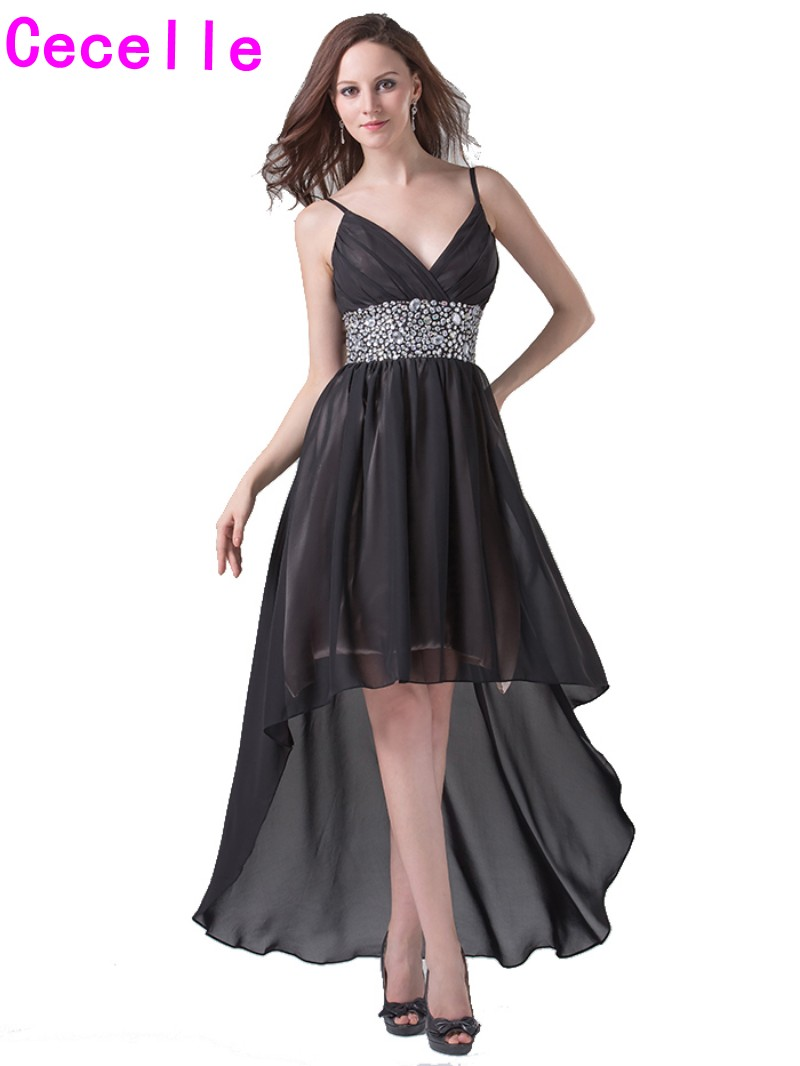 Sexy Black High Low Prom   Cocktail     Dresses   With Straps For Juniors V Neck Beaded Chiffon Cocktaik party   Dresses   2019 Casual