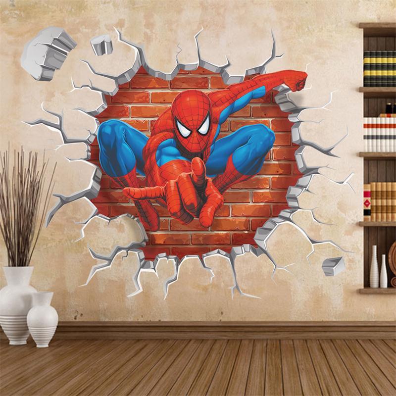 HTB1aGvUJXXXXXayXXXXq6xXFXXXe - 45*50cm hot 3d hole famous cartoon movie spiderman wall stickers for kids rooms boys gifts through wall decals home decor mural