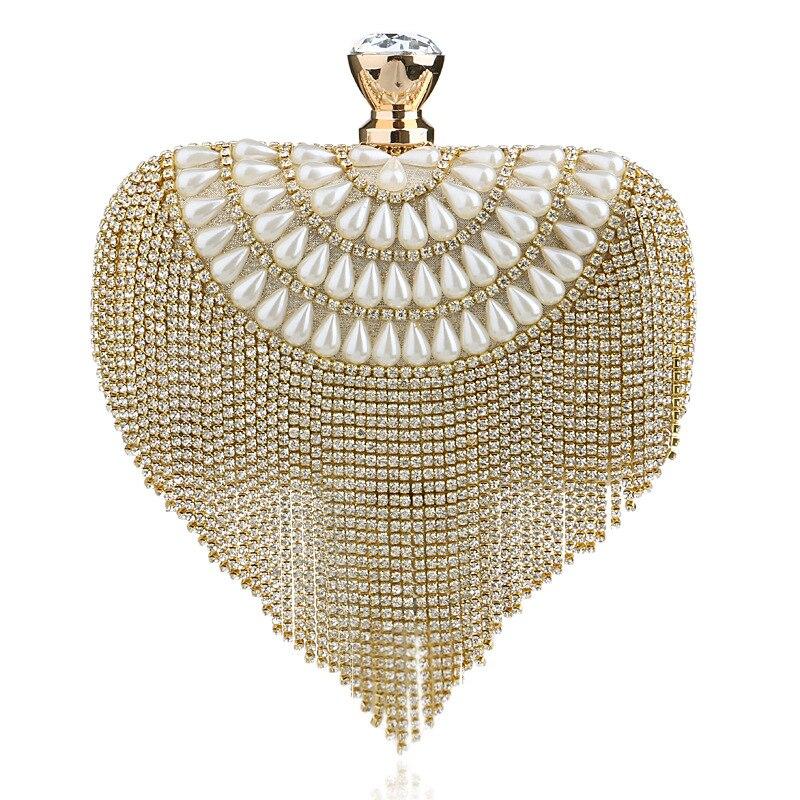 Pearl Diamond Tassel Lock Dress Formal Handbag Woman Wristlets Day Clutch Lady Wedding Evening Shoulder Bag Bridal Purse