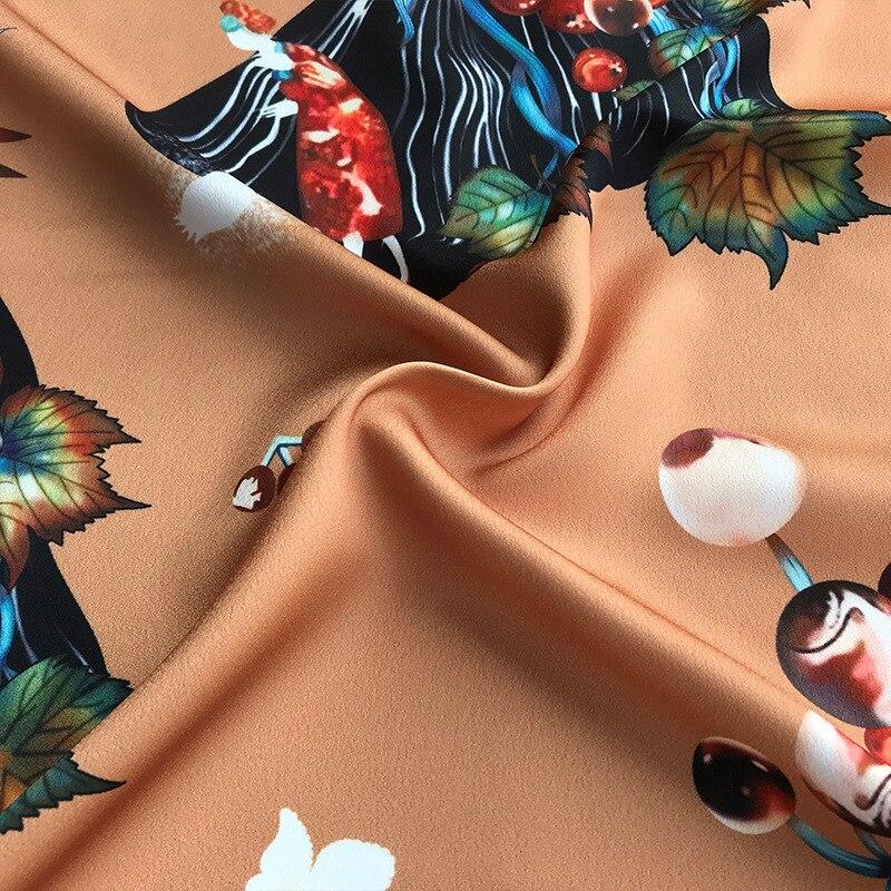 2019 Primavera y novedad de verano alta calidad diseño de vid marrón impresión ropa camisa hecha a mano DIY tela para vestido 145cm de ancho - 2