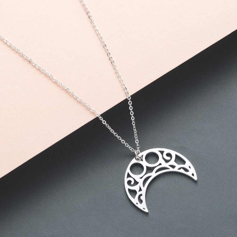 Collier pendentif en forme de croissant de lune Origami pour femmes Collier en corne infini amoureux cadeau d'anniversaire charme colliers creux