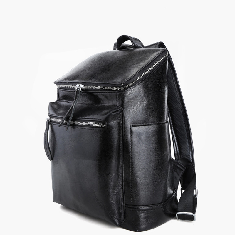 Natural Genuine Cow Leather Black Men Backpack Humanized Design Travel Pack Weekend Trip Fit For 13 InchLaptop Bag PR093127