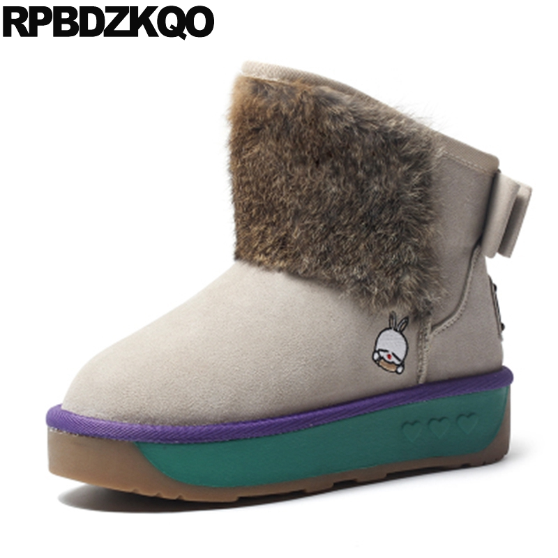Slip On Flat Australian Winter Snow Boots Women Ankle Beige Fur Casual Shoes Booties Muffin Bow Faux New 2017 Female Fashion new winter shoes 2017 women boots casual ankle boots women slip on flats platform shoes with plush warm snow boots 7e27
