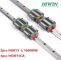 2pcs 100% original Hiwin linear rail guide HGR15 L 1600mm + 4pcs HGW15CA ( HGW15CC ) linear flanged block carriage for cnc