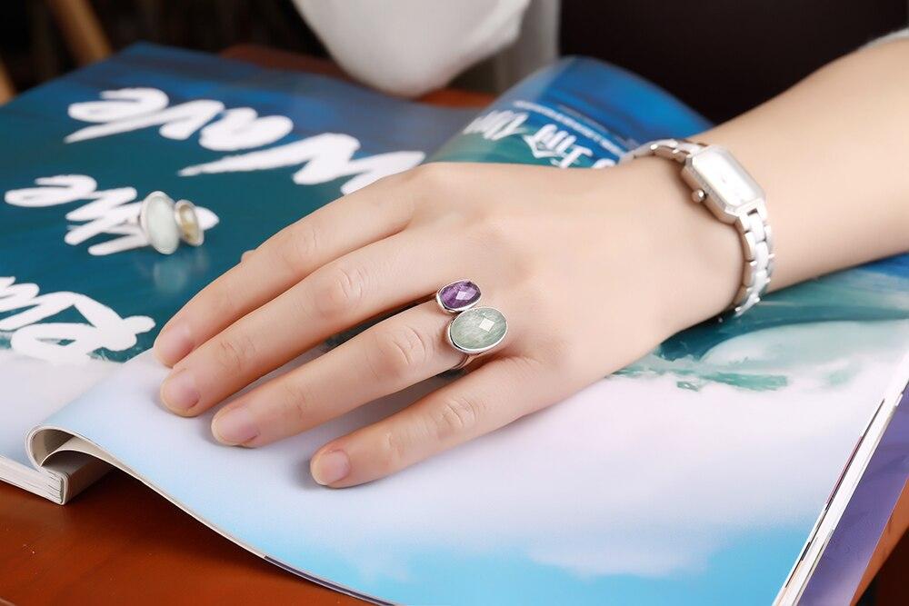 DORMITH real 925 argent sterling pierres précieuses anneaux naturel amazonite fluorite pierre anneaux pour femmes bijoux taille réglable anneau - 6