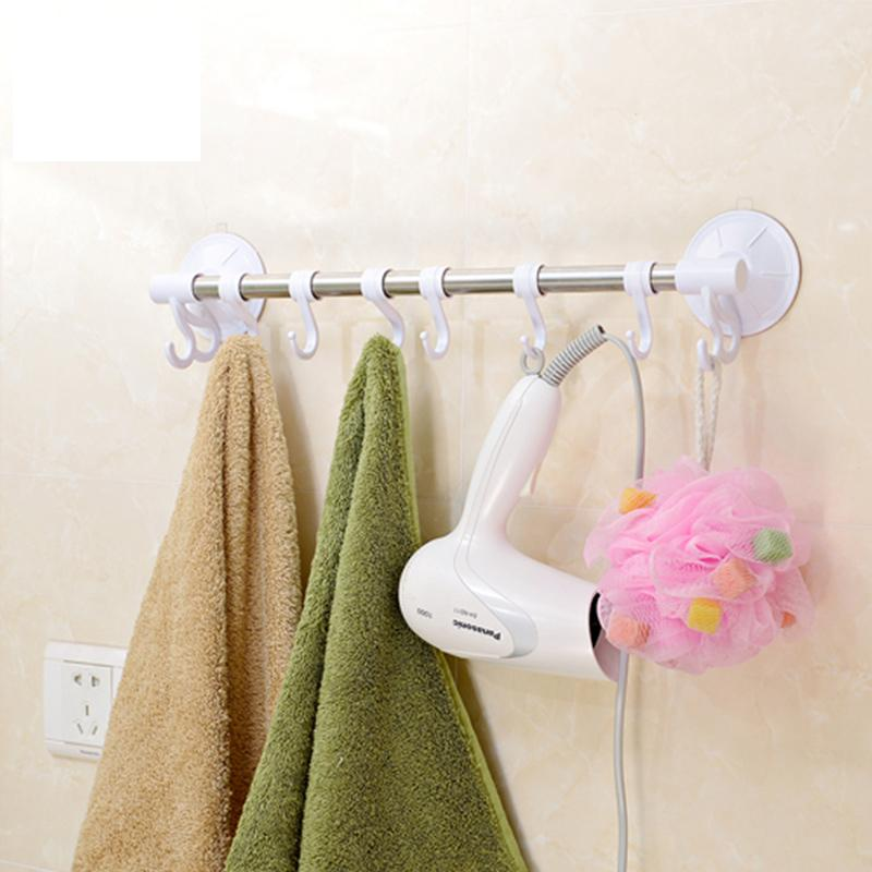 44cm long wall suction cup stainless steel towel hooks movable with 8 hooks for bathroom and. Black Bedroom Furniture Sets. Home Design Ideas
