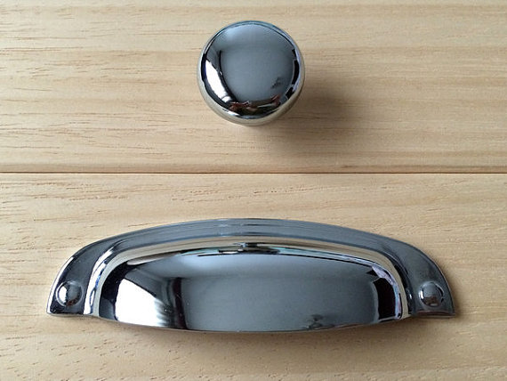 3.75 Bin Cup Dresser Pulls Drawer Pull Handles Knob Chrome Silver Kitchen Cabinet Door Handle Knobs Cupboard Furniture Hardware 30mm furniture drawer cabinet door handles and knobs kitchen hardware accessories new cupboard pulls silver base purple handle