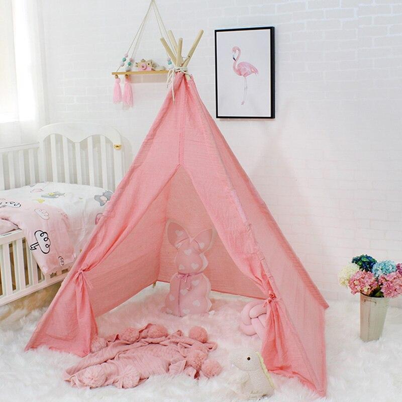 Crêpe de coton enfants Tipi tente bébé Tipi chambre d'enfants Wigwam jeu jouer maison fille garçon jouets pour enfant produits 4 pôles Photo