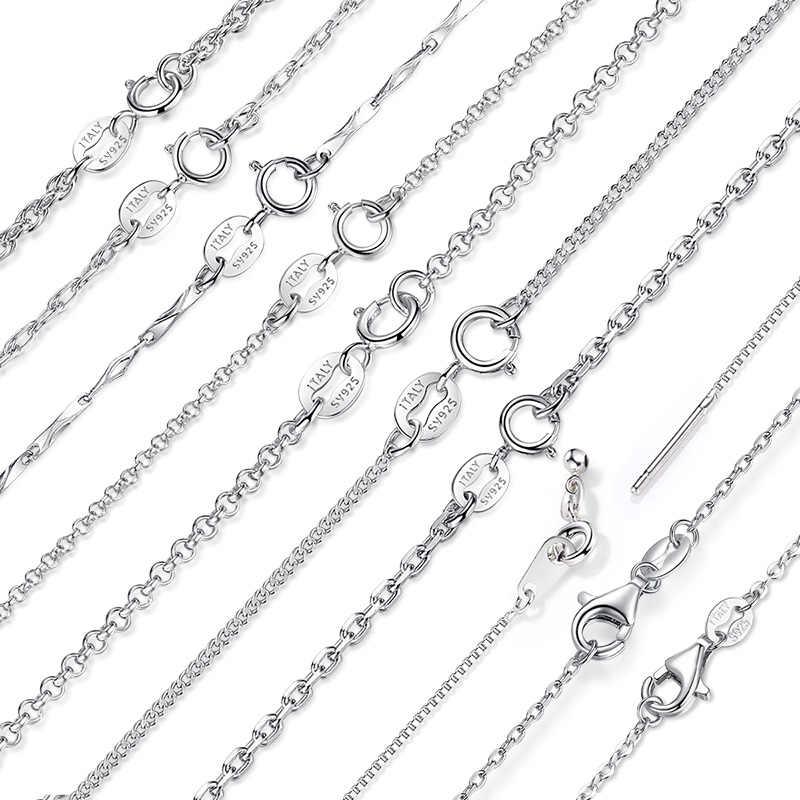 10 stylów gorąca sprzedaż 925 srebro Link łańcuchy naszyjniki Fit For wisiorek urok dla kobiet mężczyzn luksusowe S925 biżuteria prezent
