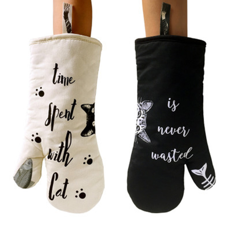 Oven Mitts & Oven Sleeves Kitchen,dining & Bar Kitchen Thicken Heat Resistant Oven Mitts White Black Cat Cooking Gloves Non-slip Baking Gloves Oven Mittens Home Cooking Tool