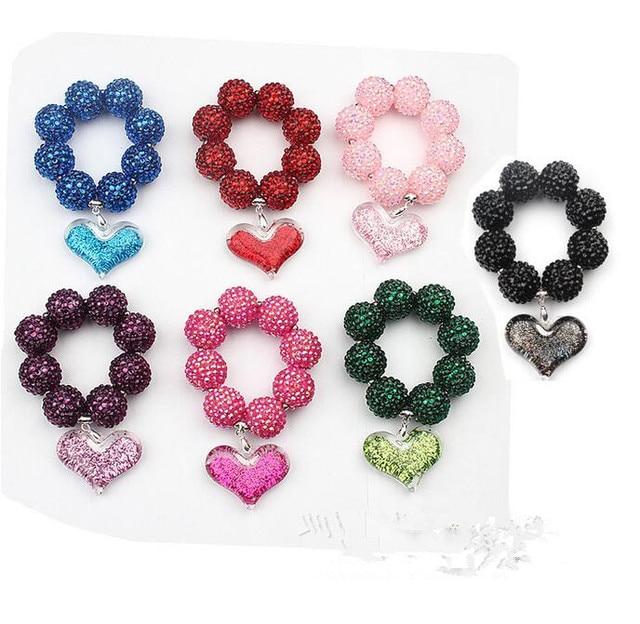 Hot sale 6pcs/lot rhinestones bead bracelets Chunky Bead Bubblegum beads Baby bracelet, haert pendant bracelets Christmas Gift