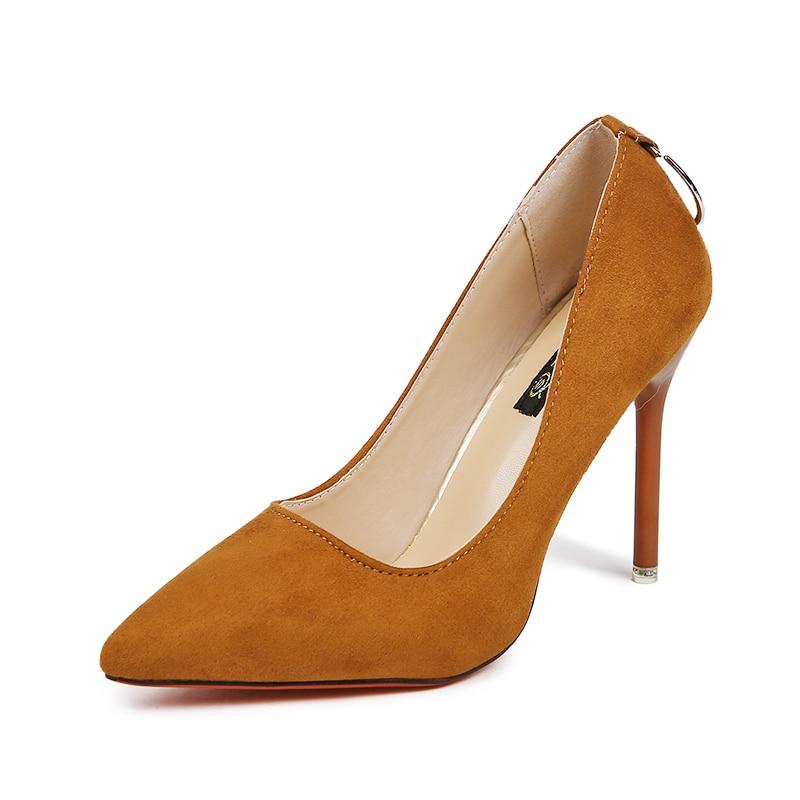 2 Del naranja Mujeres 34 Tacones Zapatos Tamaño Negro Oficina Sexy De Elegante Las Métodos Nuevas Metal 39 Primavera Altos Mujer Calzado Damas Círculo Bombas Usar 2018 r4wHr