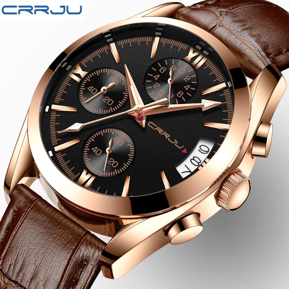купить CRRJU Watch Men Sport Quartz Fashion Leather Clock Mens Watches Top Brand Luxury Chronograph Business Watch Relogio Masculino по цене 1120.92 рублей