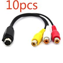 10 adet MMI AV kablosu 9 PIN S VIDEO 3 RCA bileşen TV adaptörü