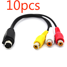 10pcs MMI AV Cable 9 PIN S VIDEO to 3 RCA COMPONENT FOR TV ADAPTER