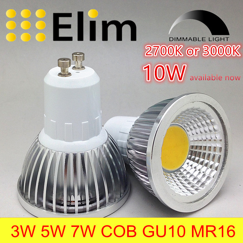 spot lamp LED Bulb Led GU10 Cob dimmable mr16 2700K 3000K Warm White 3W 5W 7W 10W  bulb replace Halogen lamp energy saving lamp 680lm mr16 7w cob warm white led spot bulb energy saving light 85 265v