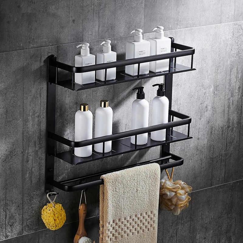 Łazienka czarny półka aluminiowa łazienkowa półka narożna uchwyt łazienkowy prysznic łazienka akcesoria łazienkowe MH8510B