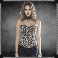 2016 New Women corsets high quality Sexy Gothic Corset Punk skull corset Bustiers Party club wear Corselet Top S-2XL