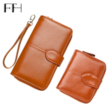 Retro Classic Female Waxy Leather Standard Wallet with coin pocket Short Long style Ladies s Elegant