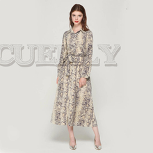 CUERLY women snake skin pattern maxi dresses ankle length long dress bow tie sashes sleeve casual chic vestidos