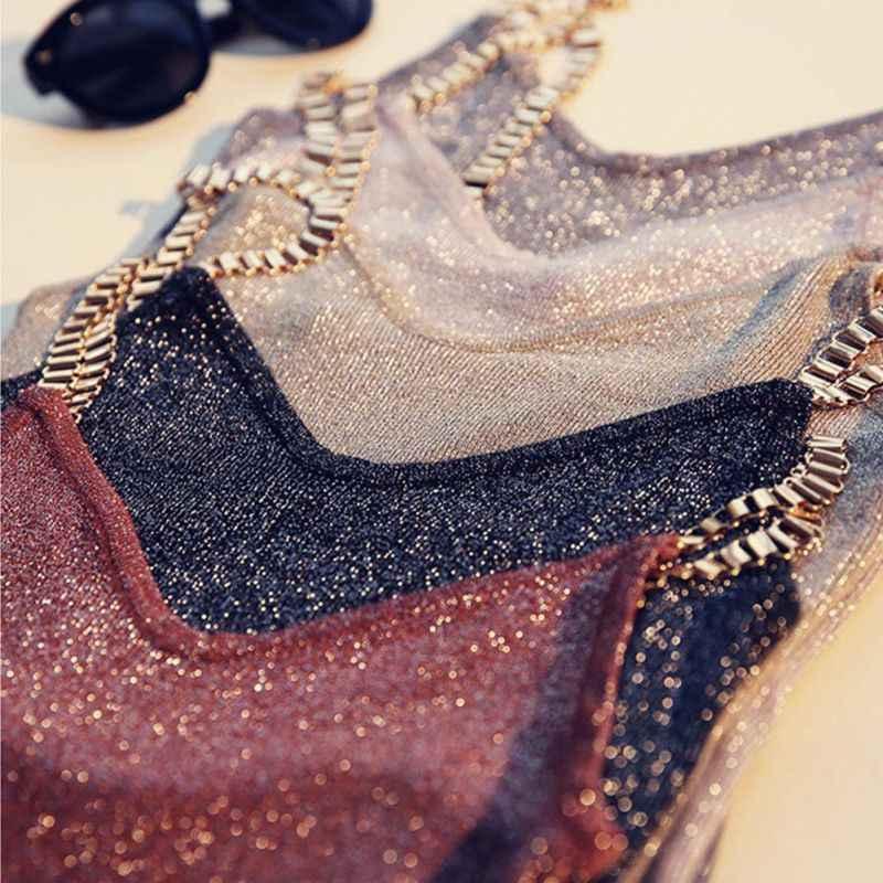 여성 탱크 탑 섹시한 클럽 여성 스파게티 소녀 캐미솔 메탈 스트랩 섹시한 v 넥 스웨터 얇은 밝은 메쉬 반짝이 블링