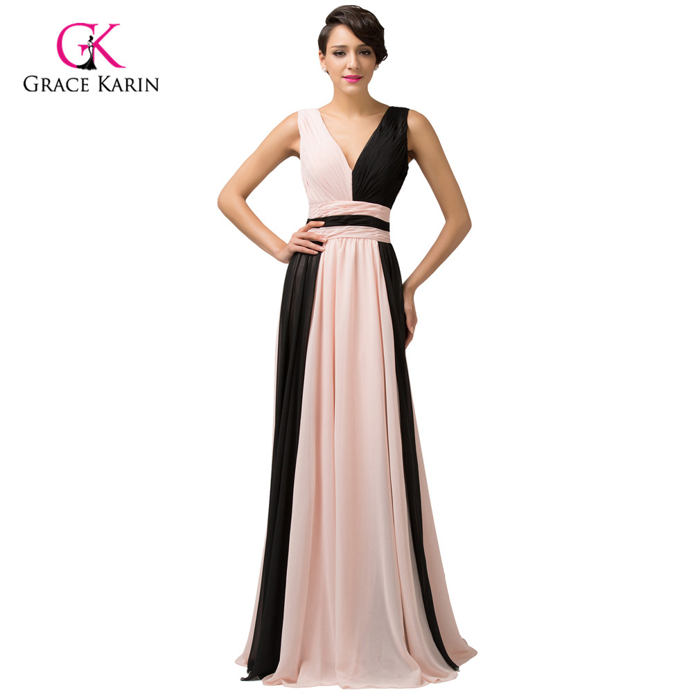 2018 Elegant Long Evening Dresses Grace Karin Black Patchwork Pink Orange Yellow Formal Gowns For Party 6172 In From Weddings