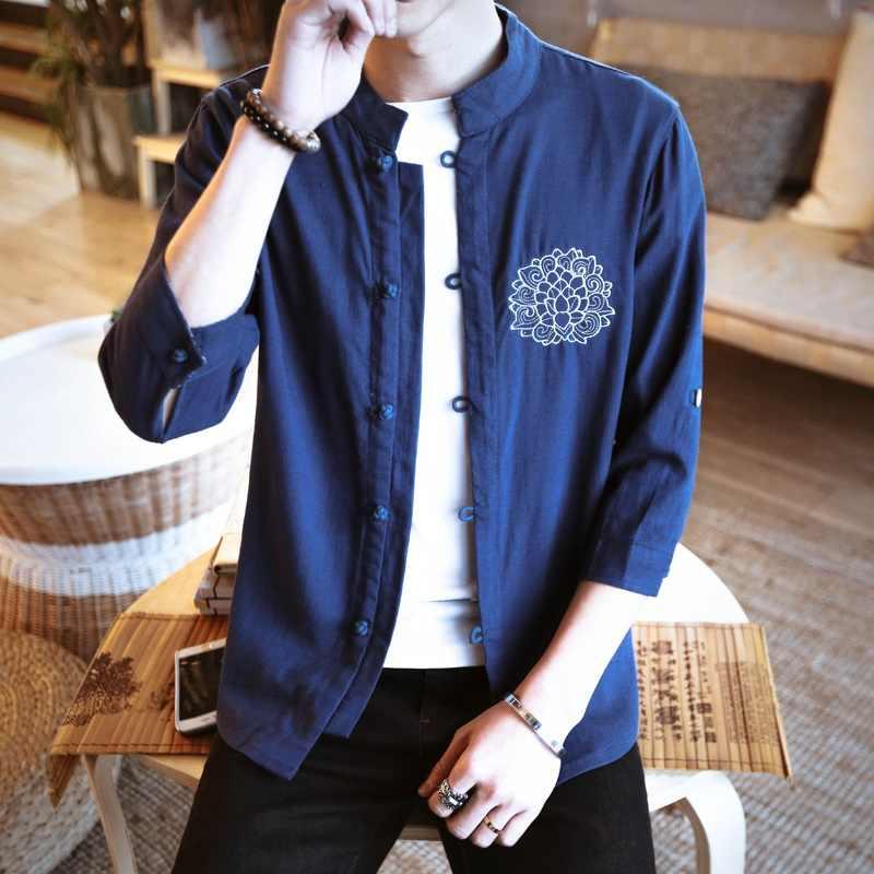 伝統的なメンズ服中国の東洋男性リネンシャツ半袖リネン白シャツヴィンテージリネン布 TA130