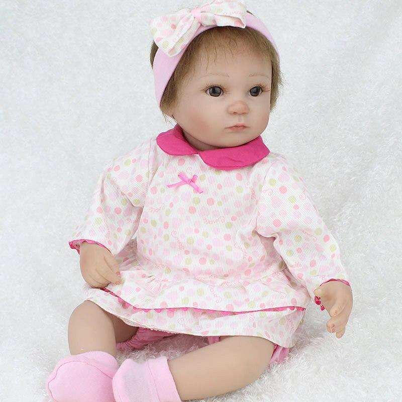 ФОТО Original Silicone Reborn Baby Doll Lifelike Brinquedos Adora Matryoshka Babies Toy 17 inch Girls Gift