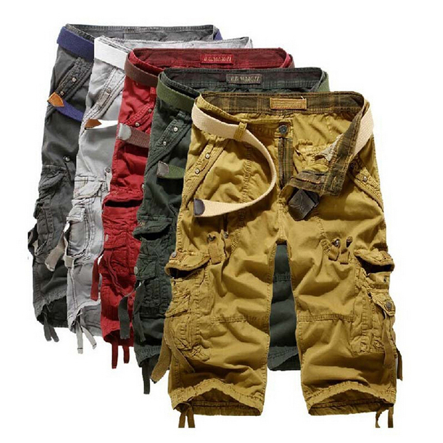 Cargo Shorts Men Cotton Casual Solid Shorts Loose New 2016 Brand Clothings Summer Shorts Homme Trousers Plus Size 38
