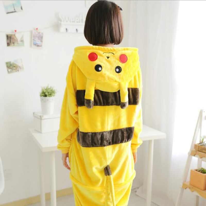 Image 2 - Pikachu Women Cosplay Kigurumi Onesie Adult Funny Animal Sleepwear For Man Loose Warm Anime Pajamas Jumpsuit Winter Onepiece