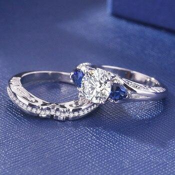 2019 Sliver S925 Sapphire Rings Set Fashion Anillos De Diamond Bizuteria Gemstone for Women Wedding Diamante Jewelry Ring Female 5