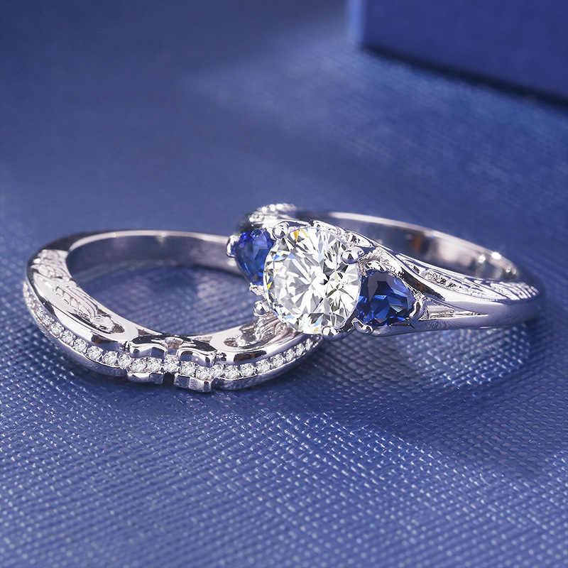 2019 Bạc S925 Sapphire Nhẫn Bộ Thời Trang Anillos De Kim Cương Bizuteria Đá Quý cho Nữ Cưới Diamante Nhẫn Nữ
