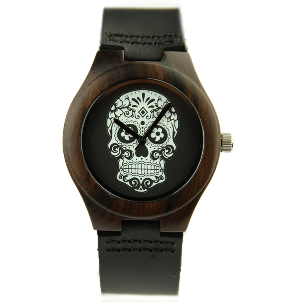 Quartz Watch Ghost Head Shape Womens Watches New Style Neutral Simple Casual Ebony Material Black and Brown Strap WristwatchesQuartz Watch Ghost Head Shape Womens Watches New Style Neutral Simple Casual Ebony Material Black and Brown Strap Wristwatches
