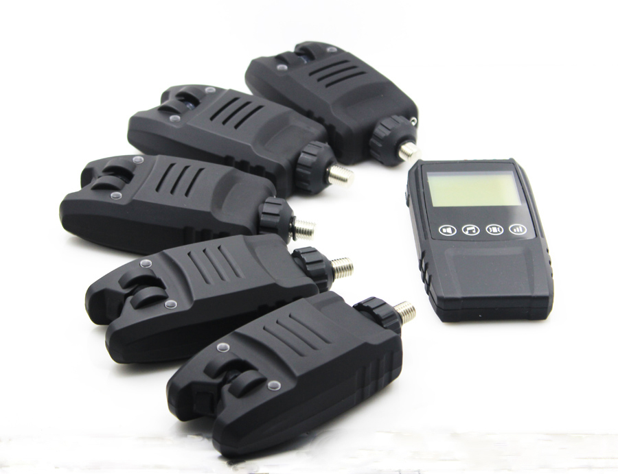 5*Digital Water-resistant Bite Alarms &1* Touch shock Receiver Wireless Alarm Set in case For Carp Fishing