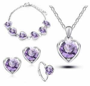 Detaliczna klasyczny ślub biżuteria w kształcie serca zestawy Austrya kryształ wisiorek naszyjnik stadnina kolczyk bransoletka i pierścień wisiorek biżuteria