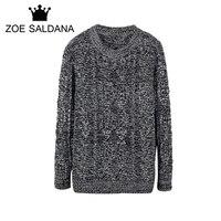 Zoe Saldana 2017 New Autumn Winter Striped Sweater Men S Vintage Casual Pullovers Male O Neck