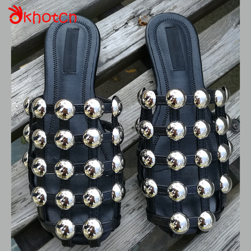 Studded Rivet Mules Outside Sandals Women Summer Hollow Slippers Female Beach Shoes Sandy Half Drag Beads Rivets Femme Shoes цены онлайн