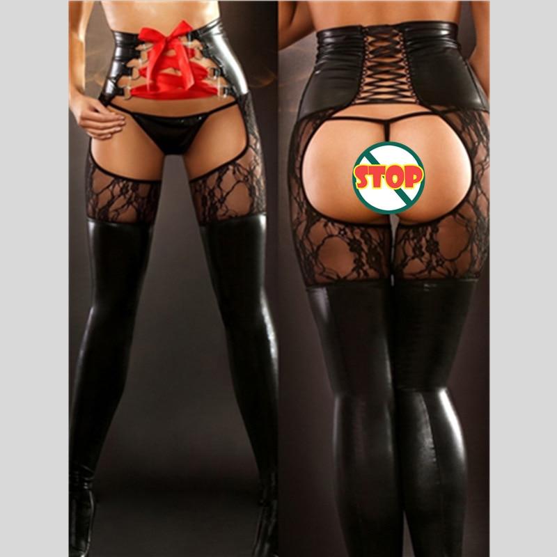 Hot Faux Leather Open Crotch Sexy Lingerie Women Spanking Catsuit Spandex Wet Look Clubwear Leggings Fetish