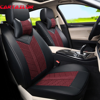 CARTAILOR Ice Silk Seat Cover Set Custom Fit for Mitsubishi Lancer Accessories for Cars Seats PU Leather Seat Covers Protector