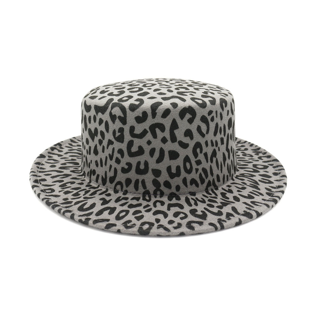 Fashion Felt Hat Flat Top Cap Women Wool Leopard Fedoras Hats Men Vintage Trilby Caps Fedoras Jazz Hat Chapeau Femme Panama Cap