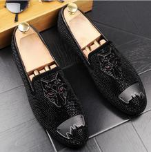 2018 New Luxury Suede men loafers black wedding party casual shoes England Moccasins Leopard Head print slippers flats