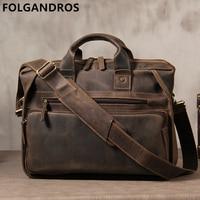 2019 Brand Genuine Leather Men Briefcases Designer Handmade Cowhide Leather Briefcase 14 Laptop Vintage Crossbody Shoulder Bag