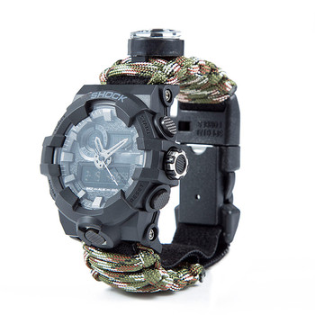Outdoor Camping Survival Watch Multi-functional Waterproof Paracord Watch with Compass Whistle Thermometer Rescue Rope Survival 1