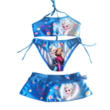 2020 New Summer Baby Girls Elsa Anna Clothes Suit Girls Clothing Sets Girls swimwear Girls bikini set cheap linqirkiss Active Square Collar Belt Polyester spandex Sleeveless REGULAR Fits true to size take your normal size Vest