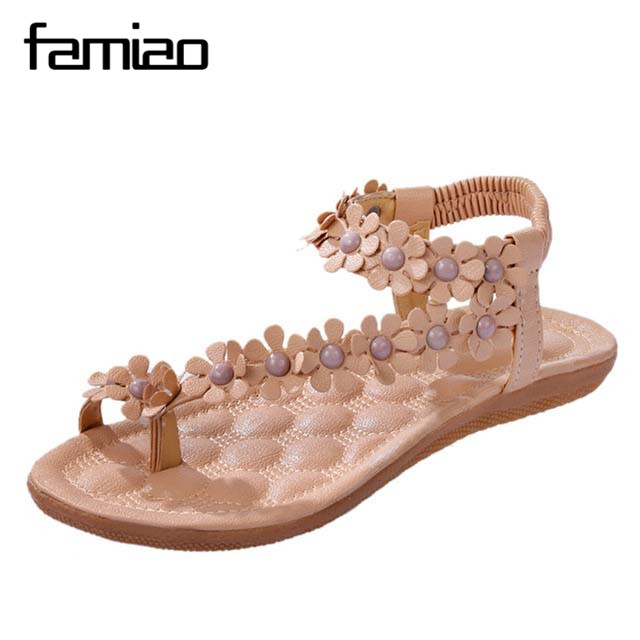 Flat Shoes Women  Sandalias Mujer 2017 Zapatos Sweet Summer Beach Pu Sandals Ladies Shoes Flower Sapatos Mulher Non-Slip