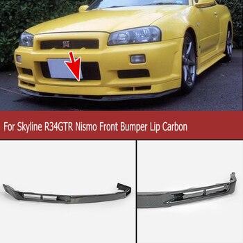 Skyline R34 GTR Nismo parachoques delantero labio estilo de coche Kit de cuerpo de fibra de carbono frente Spoiler